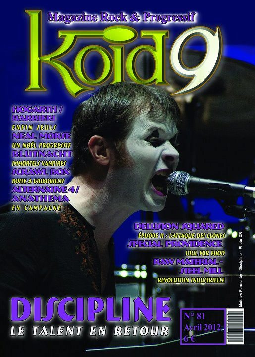 "Discipline band featured on the cover of the French prog magazine ""Koid9"" (April 2012), used with permission, photo by Kevin Scherer"