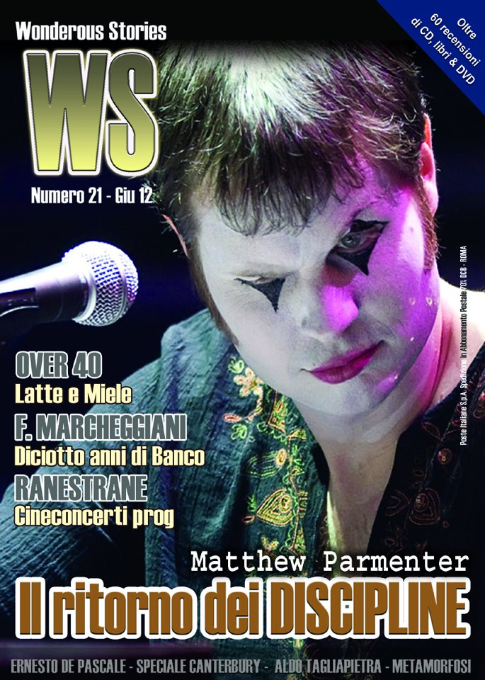 "Discipline band featured on the cover of the Italian prog magazine ""Wonderous Stories"" (June 2012), used with permission, photo of Matthew Parmenter by Joe Del Tufo"
